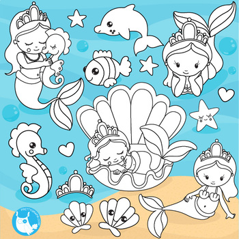Baby mermaid stamps,  commercial use, vector graphics, images  - DS1090