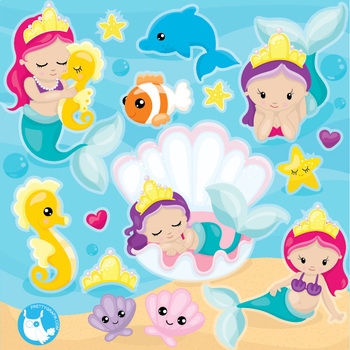 Baby mermaids clipart commercial use, vector graphics  - CL1090