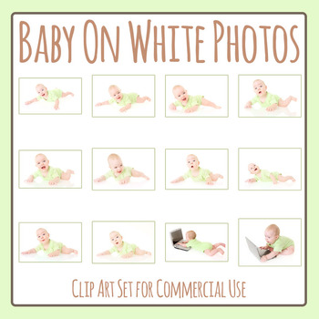 Baby on White Background Photos Clip Art Set for Commercial Use