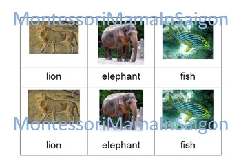 Baby's First Animals Montessori Three Part Vocabulary Cards