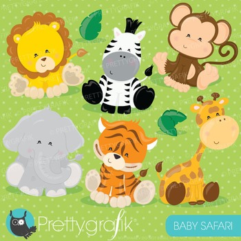 Baby safari animals clipart commercial use, vector graphics, digital - CL711