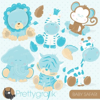 Baby safari animals clipart commercial use, vector graphics, digital - CL712