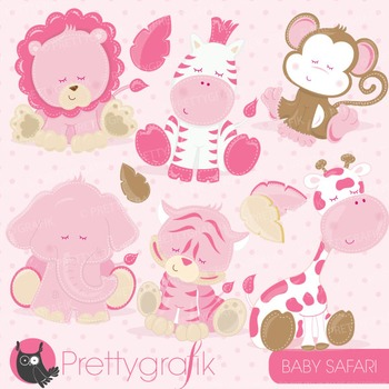Baby safari animals clipart commercial use, vector graphics, digital - CL714