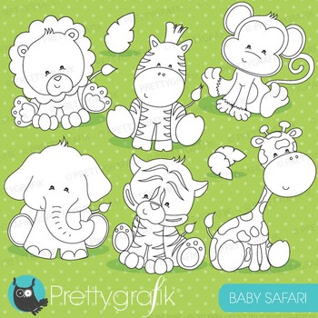 Baby safari stamps commercial use, vector graphics, images - DS711