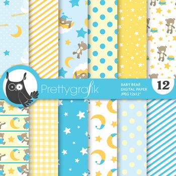 Baby shower boy digital paper, commercial use, scrapbook papers - PS674