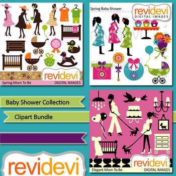Baby shower clip art collection / mom to be, pregnant woman clipart bundle
