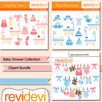 Baby shower collection clip art bundle / pink blue nursery clipart