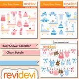 Baby shower collection clip art bundle / pink blue nursery