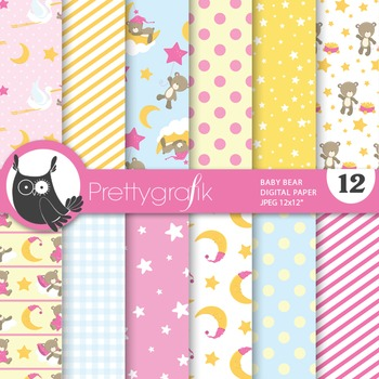 Baby shower girl digital paper, commercial use, scrapbook papers - PS673