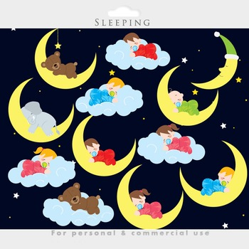 Baby sleeping clipart - sleeping babies clip art night time cute whimsical