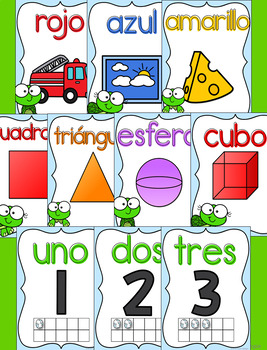 Baby turtle theme Posters for Spanish classrooms
