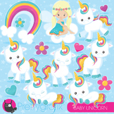 Baby unicorn clipart commercial use, vector graphics, digital - CL937