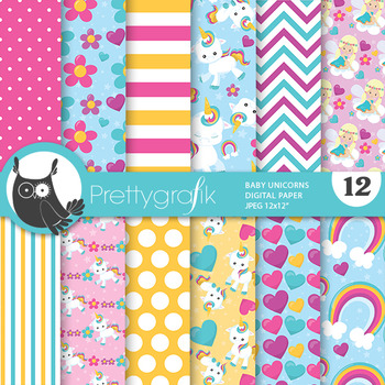 Baby unicorn papers, commercial use, scrapbook papers, - PS778