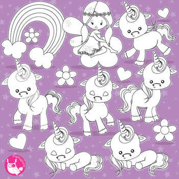 Baby unicorn stamps commercial use, vector graphics, images  - DS937