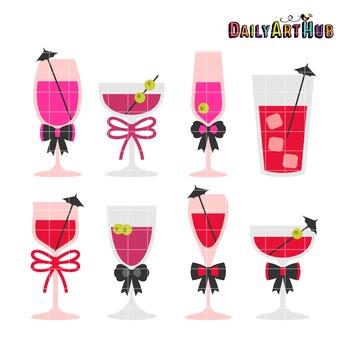 Bachelorette Cocktails Clip Art - Great for Art Class Projects!