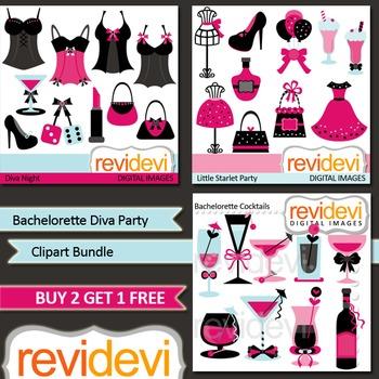 Bachelorette Diva Party Clip art Bundle (3 packs)