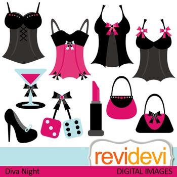 Bachelorette Diva Party Clip art (woman stuff, lingerie, lipstick) pink, black