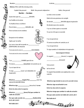 Bacilos musica Caraluna Spanish vocabulary, subjunctive gerund present