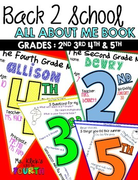 Back 2 School- All About Me (2nd,3rd,4th,&5th)