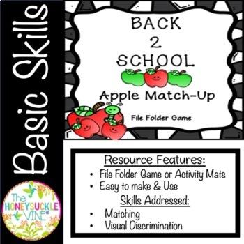 Back 2 School Apple Match-Up File Folder Game