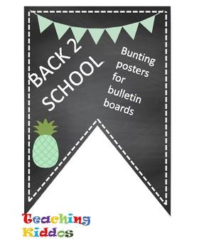 Back 2 School Banner Pennant teal mint light green pineapple
