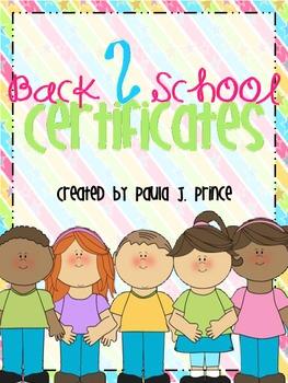 Back 2 School Certificates