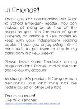 {*}Back 2 School: Emergent Reader{*}