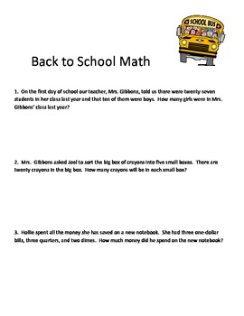 Back 2 School Math