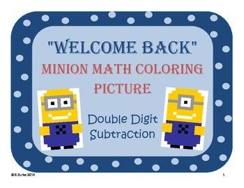 Back 2 School - Minion Math Coloring Picture - Double Digit Subtraction