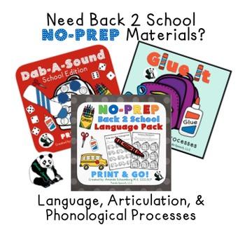 Back 2 School No-Prep BUNDLE: Speech and Language Activities