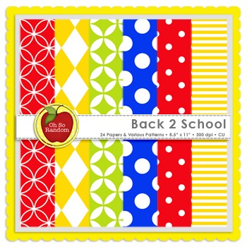 Back 2 School {Papers for Commercial Use}