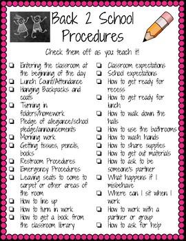 Back 2 School Procedures