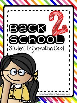Back 2 School Student Information Card