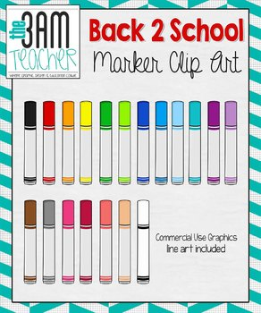 Back 2 School Supplies: Colorful Markers Clip Art / Graphics