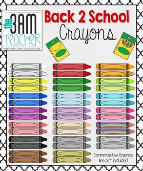 Back 2 School Supplies: Crayon Clip Art / Graphics