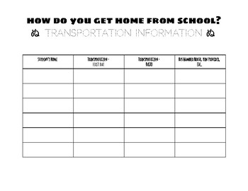 Back 2 School - Transportation List