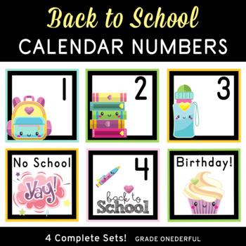 Back to School Calendar Number Cards, 4 Different Sets!
