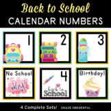 Back to School Calendar Number Cards, 4 Different Sets!