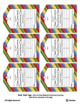 Back Pack Tags coordinates with 'By the Beach' ~ Special Education Pre-K Kinder