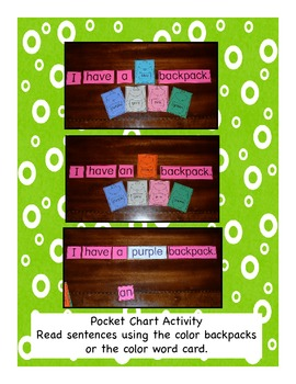 Back Pack Unit for Beginning Alphabet Skills