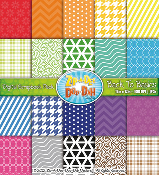 Back To Basics Patterns Digital Scrapbook Pack 2  — Includes 200 Pages!