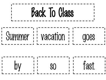 Back To Class Poetry Pack