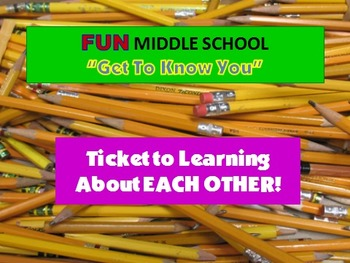 """Back To Middle School """"Get to Know You"""" Project with 5+ Ac"""