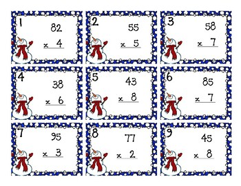 Back To My Seat Station 2 Digit by 1 Digit Multiplication Winter Theme