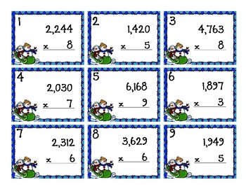Back To My Seat Station 4 Digit by 1 Digit Multiplication Winter Theme