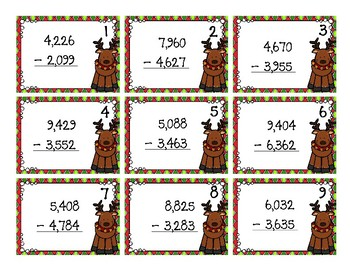 Back To My Seat Station Multi Digit Subtraction Christmas Theme