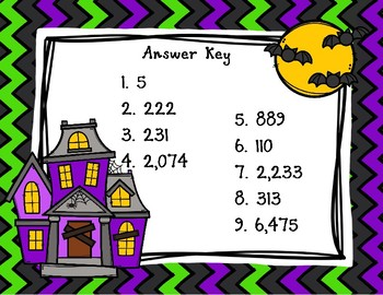 Back To My Seat Station Multi Digit Subtraction Halloween Theme