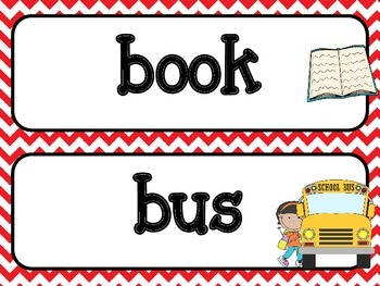 Word Wall - Back To School  - Red Chevron