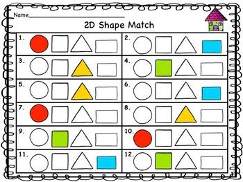 Back To School 2D Shape Match Up Digital Station