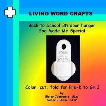 Back To School 3D Door Hanger God Made Me Special Pre-K to Gr. 3